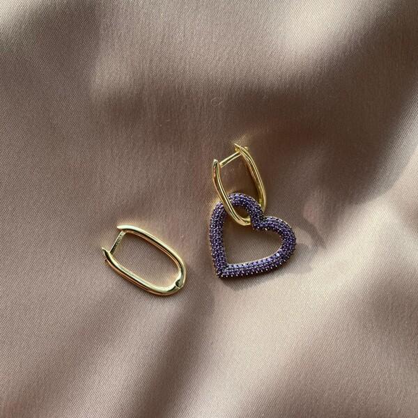 - Mor Taşlı Kalpli Dikdörtgen Küpe   925 Gümüş