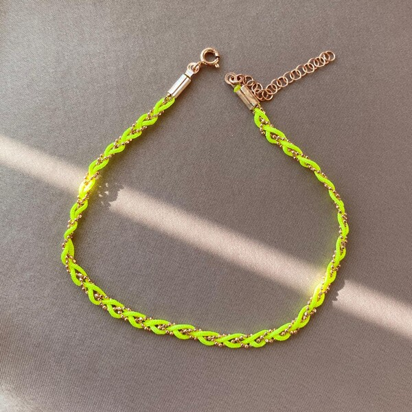 - Neon Sarı İp Halhal | 925 Gümüş
