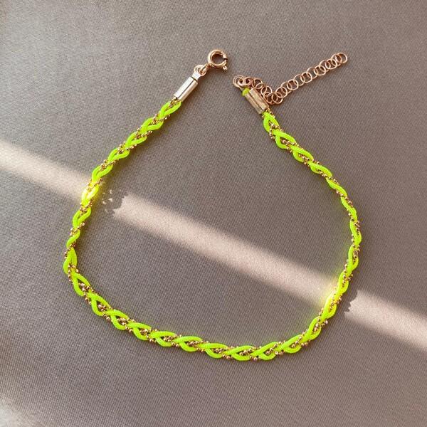 Fi Season - R Neon Sarı İp Halhal | 925 Gümüş