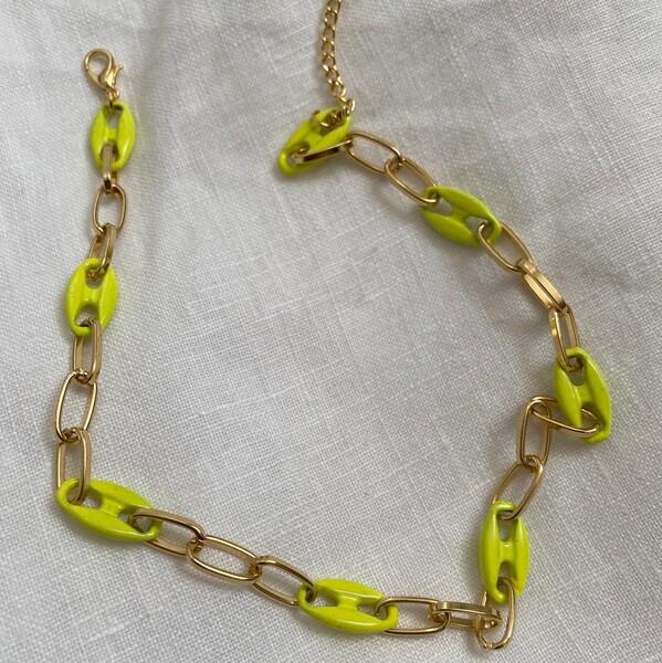 - Neon Sarı Mineli Gemici Choker