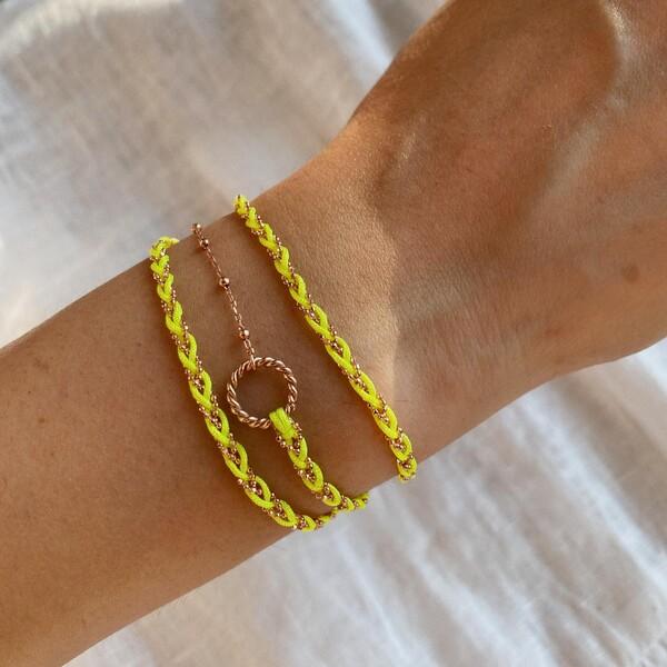 - Neon Sarı Üç Sıralı İp Bileklik | 925 Gümüş