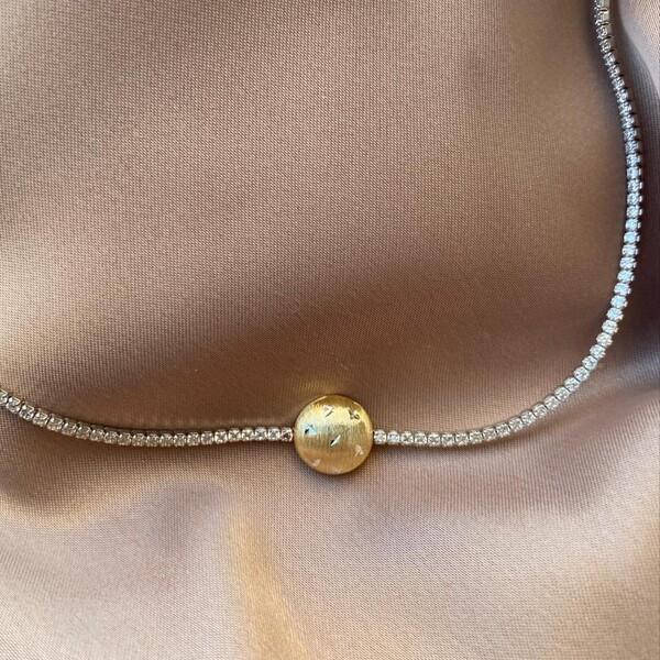 - Ortası Gold Su Yolu Choker 2 | 925 Gümüş