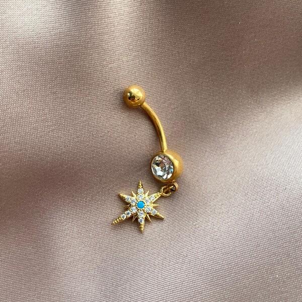 Fi Season - Ortası Mavi Taşlı Kutup Yıldızı Göbek Piercingi