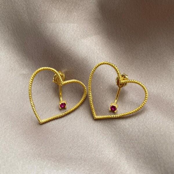 Fi Season - Ortası Taşlı Kalp Küpe   925 Gümüş