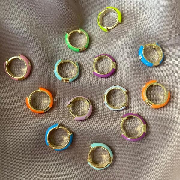 Fi Season - Ortası Taşlı Renkli Mineli Halka Küpe | 925 Gümüş