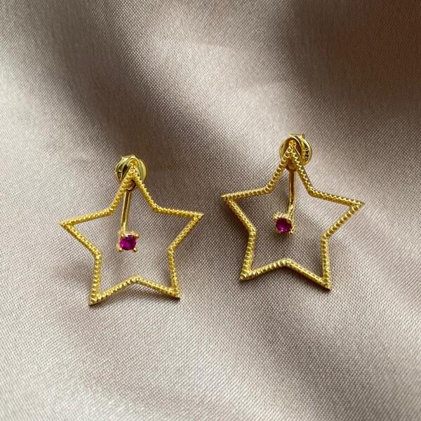 Fi Season - Ortası Taşlı Yıldız Küpe   925 Gümüş