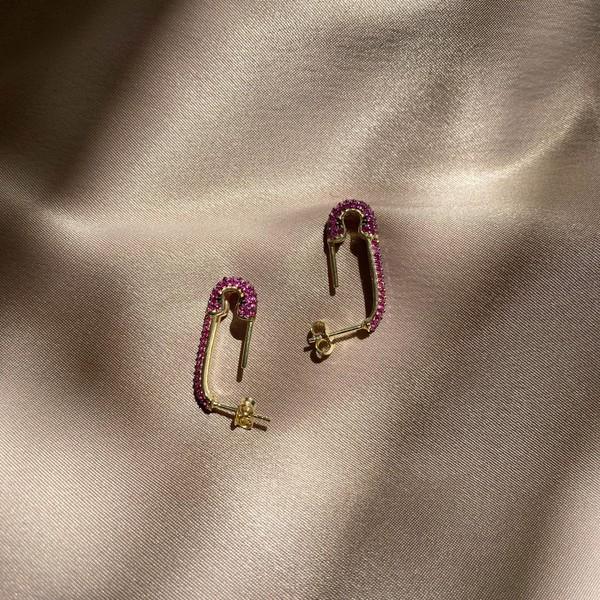 - Pembe Taşlı Çengelli İğne Küpe 3 | 925 Gümüş