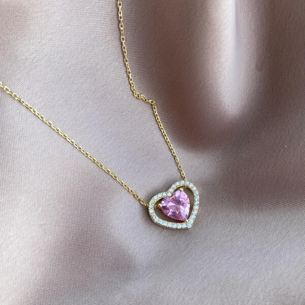 - Pembe Taşlı Çift Uçlu Kalp Kolye | 925 Gümüş