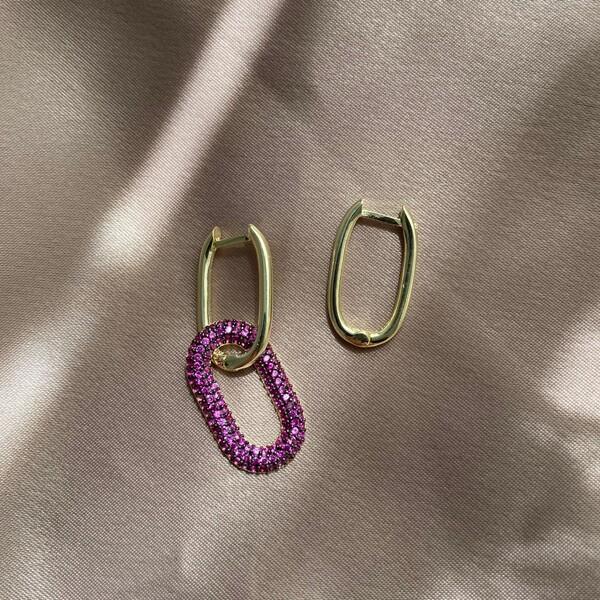 - Pembe Taşlı İkili Dikdörtgen Küpe   925 Gümüş