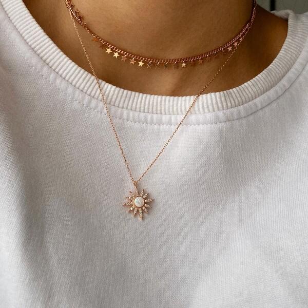 R Beyaz Opal Taşlı Güneş Kolye | 925 Gümüş - Thumbnail