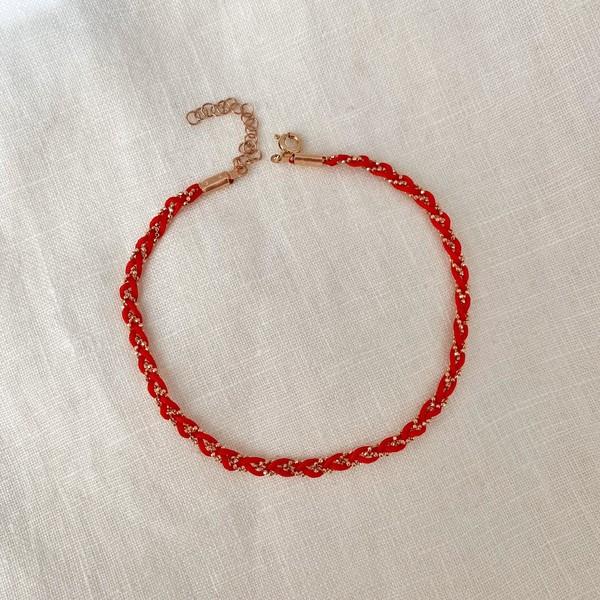 - R Kırmızı İpli Halhal | 925 Gümüş