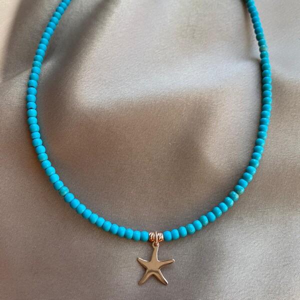 - R Mavi Boncuklu Deniz Yıldızı Kolye   925 Gümüş