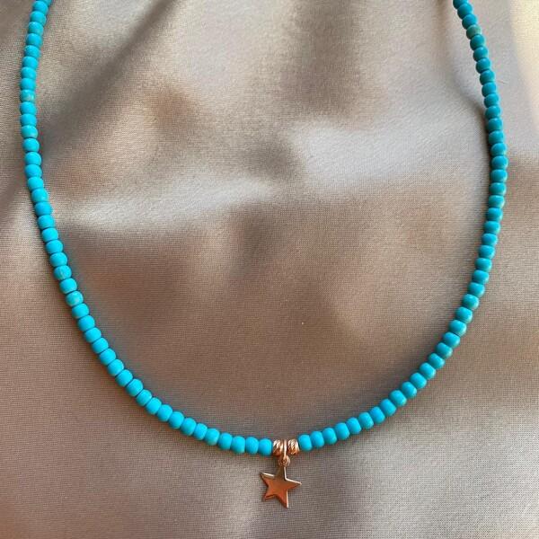 - R Mavi Boncuklu Yıldız Kolye   925 Gümüş