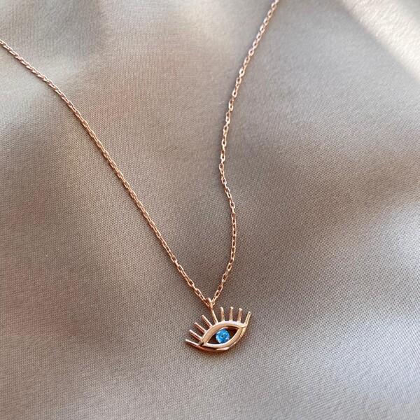 - R Mavi Taşlı Göz Kolye | 925 Gümüş