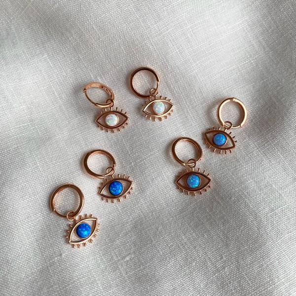 - R Opal Taşlı Göz Küpe | 925 Gümüş