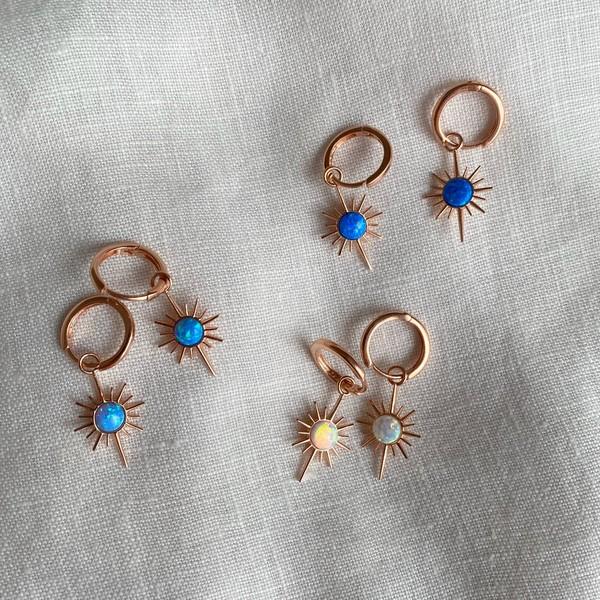 - R Opal Taşlı Kutup Yıldızı Küpe | 925 Gümüş