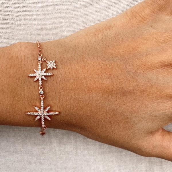 - R Taşlı Kutup Yıldızı Bileklik   925 Gümüş