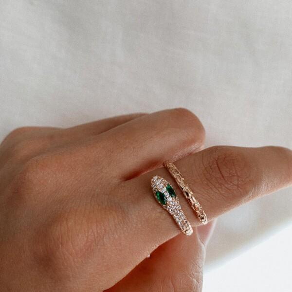 - R Yeşil Taşlı Yılan Yüzük   925 Gümüş