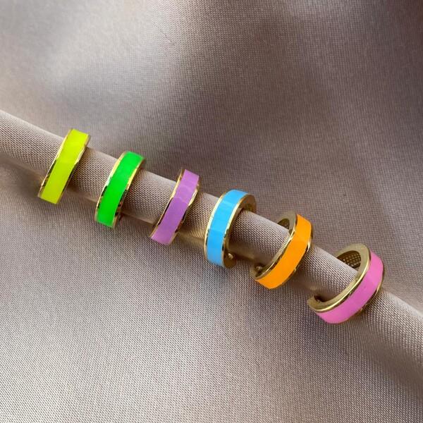 Fi Season - Renkli Mineli Halka Ear Cuff | 925 Gümüş