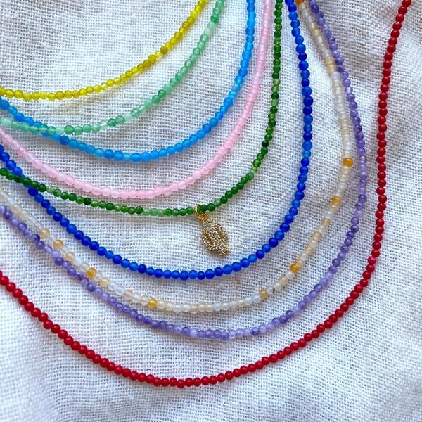 Renkli Boncuklu Beyaz Kaktüs Kolye - Thumbnail