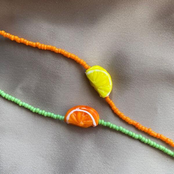 - Renkli Boncuklu Meyve Figürlü Bileklik