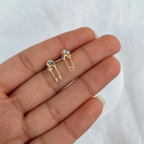 - Renkli İğne Figürlü Minik Küpe | 925 Gümüş