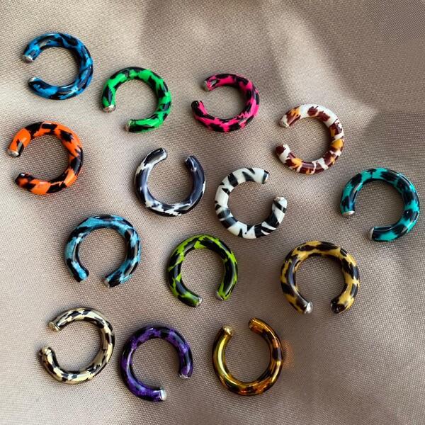Fi Season - Renkli Leopar Ear Cuff   925 Gümüş