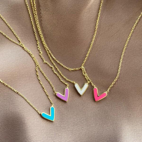 Fi Season - Renkli Mineli Çift Taraflı Kalp Kolye | 925 Gümüş