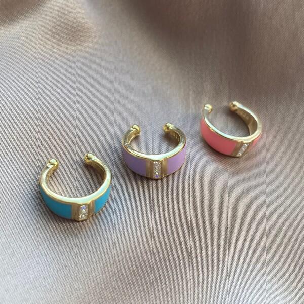 Fi Season - Renkli Mineli Dikdörtgen Taşlı Ear Cuff | 925 Gümüş