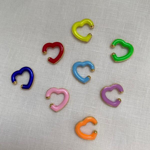 - Renkli Mineli Kalp Figürlü Ear Cuff | 925 Gümüş