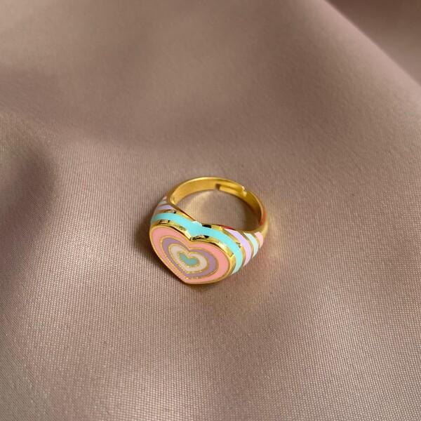 Fi Season - Renkli Mineli Kalp Figürlü Yüzük   925 Gümüş