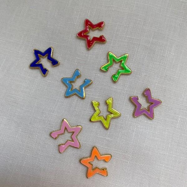 - Renkli Mineli Yıldız Figürlü Ear Cuff | 925 Gümüş