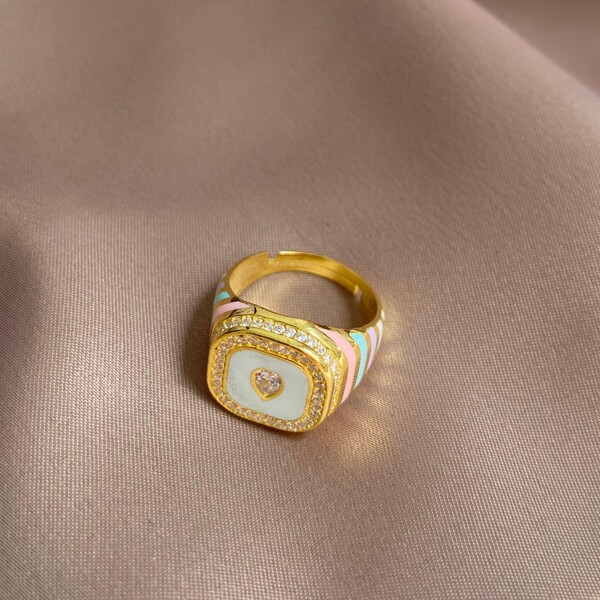 Fi Season - Renkli Mineli Taşlı Yüzük   925 Gümüş