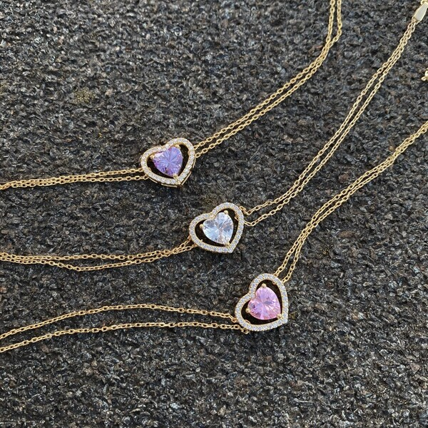 Fi Season - Renkli Taşlı Çift Zincirli Kalp Bileklik | 925 Gümüş