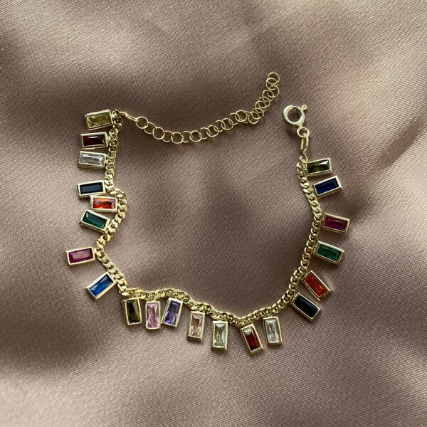 - Renkli Taşlı Dikdörtgen Bileklik | 925 Gümüş
