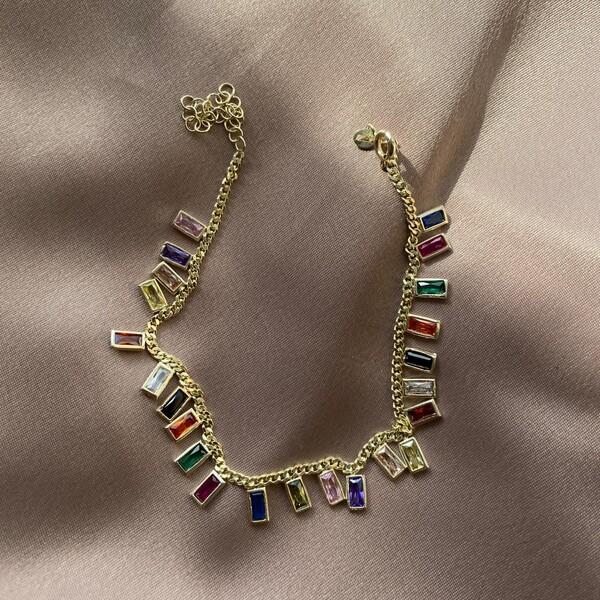 - Renkli Taşlı Dikdörtgen Halhal | 925 Gümüş