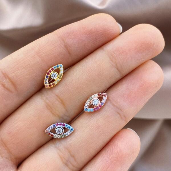 - Renkli Taşlı Göz Piercing | 925 Gümüş