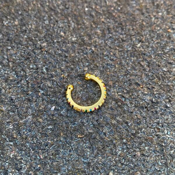 Fi Season - Renkli Taşlı İnce Ear Cuff | 925 Gümüş