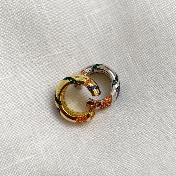 Fi Season - Renkli Taşlı Kalın Halka Ear Cuff | 925 Gümüş