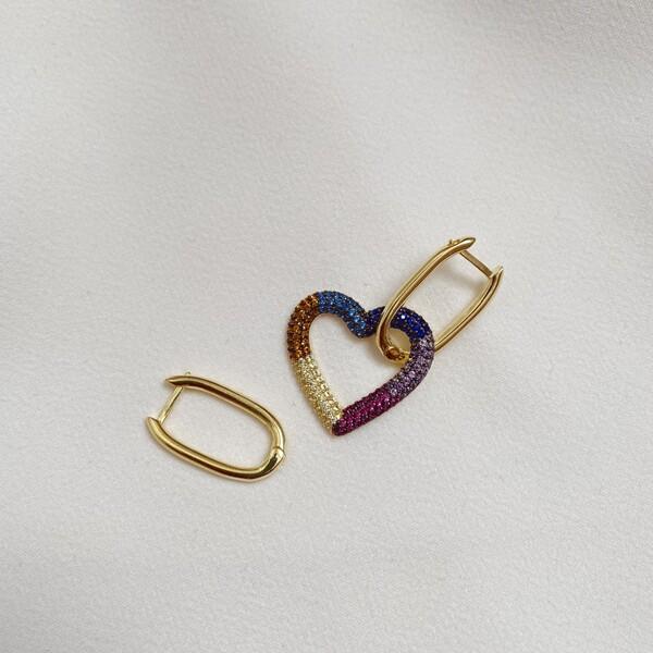 Fi Season - Renkli Taşlı Kalpli Dikdörtgen Küpe   925 Gümüş