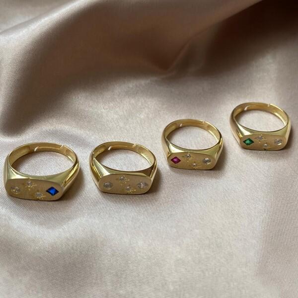 - Renkli Taşlı Kareli Yüzük   925 Gümüş