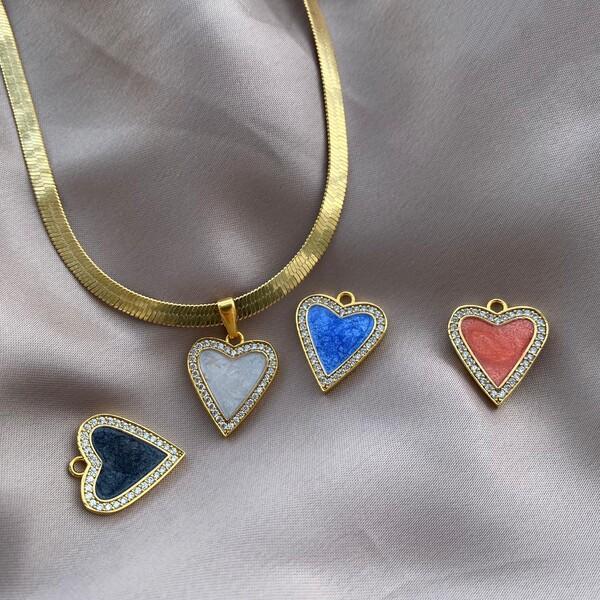 - Renkli Taşlı Mineli Kalp Kolye