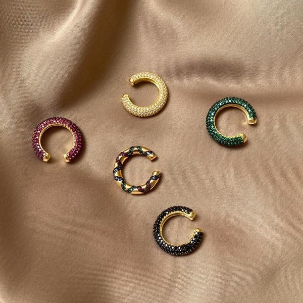 - Renkli Zirkon Taşlı Yarım Halka Kulak Aksesuarı 2 | 925 Gümüş
