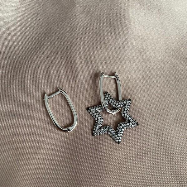 Fi Season - S Beyaz Taşlı Yıldızlı Dikdörtgen Küpe   925 Gümüş