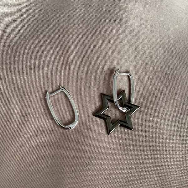 Fi Season - S Yıldızlı Dikdörtgen Küpe   925 Gümüş