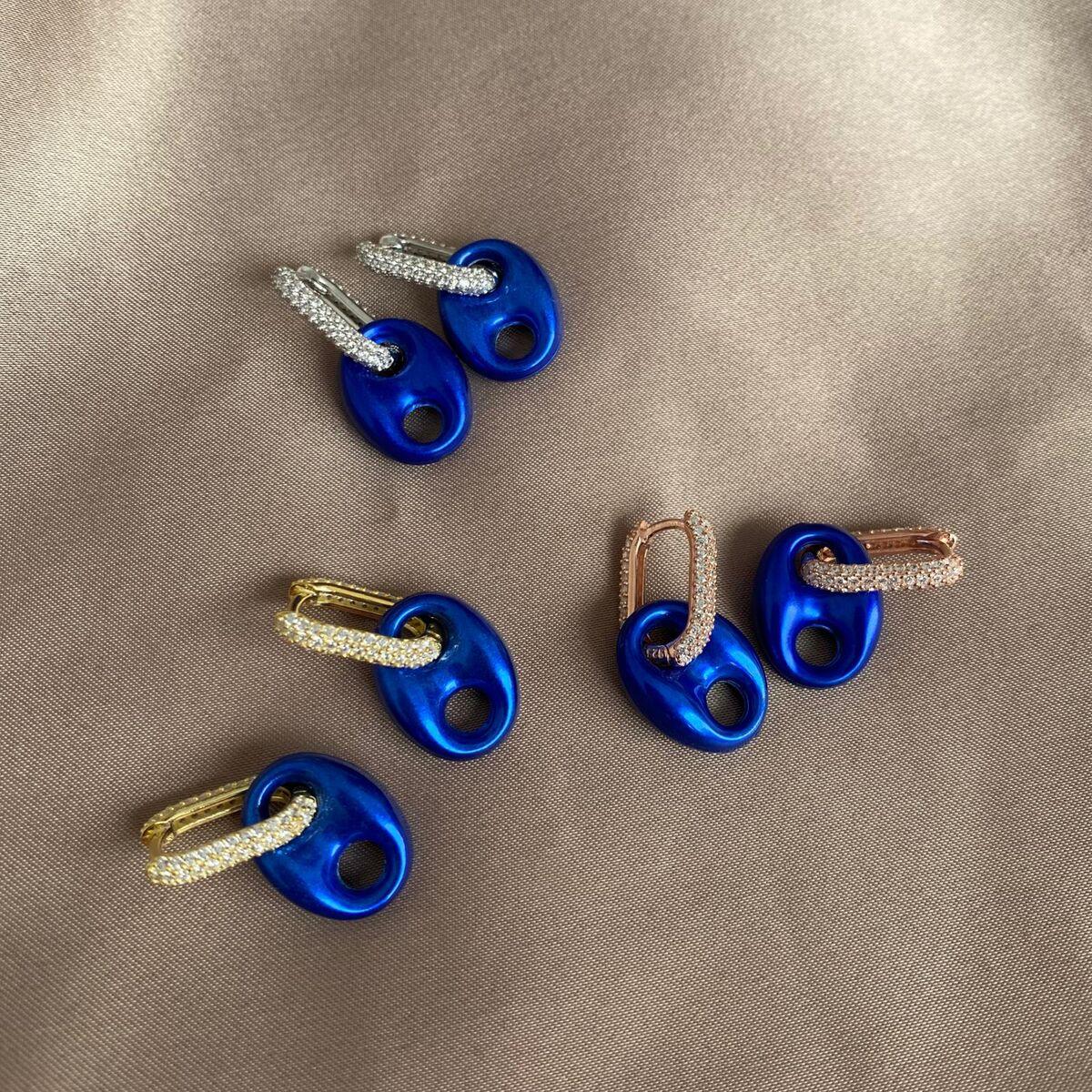 Saks Mavisi Renkli Halkalı Gemici Küpe | 925 Gümüş