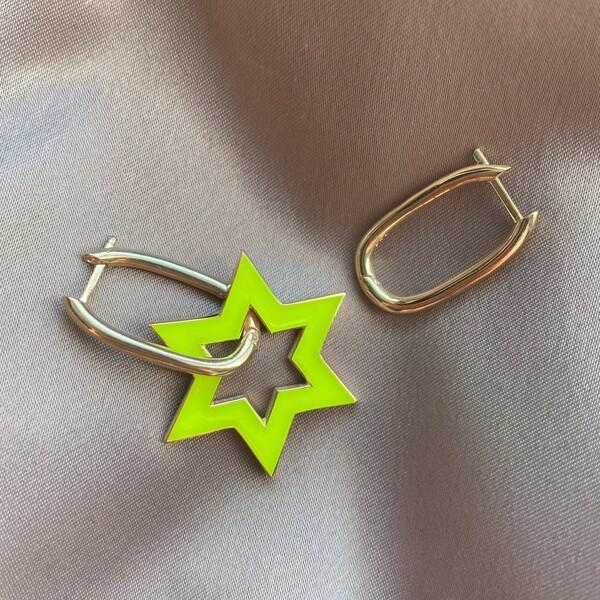 Fi Season - Sarı Mineli Yıldızlı Dikdörtgen Küpe | 925 Gümüş