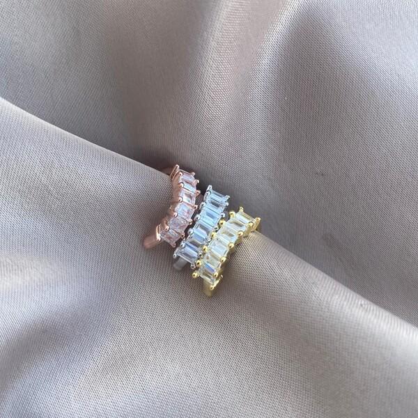 Fi Season - Sıralı Baget Taşlı Ear Cuff | 925 Gümüş