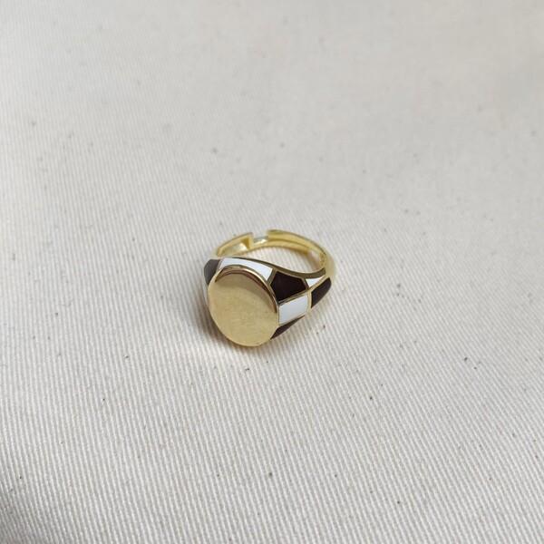 Fi Season - Siyah Beyaz Mineli Yüzük   925 Gümüş