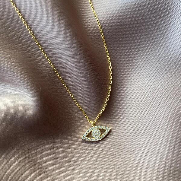 - Tamamı Beyaz Taşlı Göz Kolye   925 Gümüş